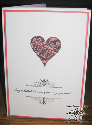 Hand made card, hearts, distress inks